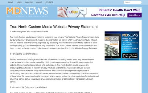 Screenshot of Privacy Page mdnews.com - MD News - Privacy - captured Sept. 24, 2014