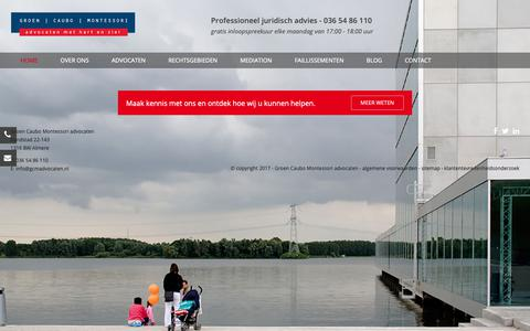 Screenshot of Home Page gcmadvocaten.nl - Groen Caubo Montessori advocaten - Advocatenkantoor te Almere - captured Sept. 30, 2018
