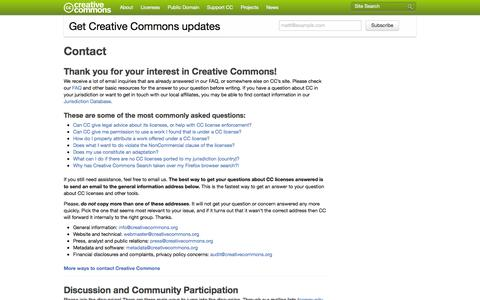 Screenshot of Contact Page creativecommons.org - Contact - Creative Commons - captured Sept. 19, 2014