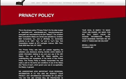 Screenshot of Privacy Page jbcstyle.com - JBCStyle - captured Sept. 18, 2014