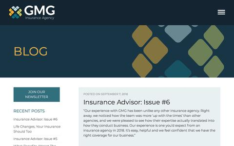 Screenshot of Blog gmgins.com - Blog - GMG Insurance Agency - captured Sept. 26, 2018