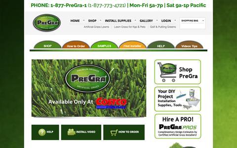Screenshot of Home Page pregra.com - PreGra.COM Artificial Grass | Artificial Lawn, K9, Putting Green Grass | EXCLUSIVELY AT COSTCO - captured Sept. 30, 2014