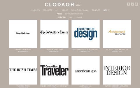 Screenshot of Press Page clodagh.com - Press - Clodagh Design - captured Feb. 18, 2018