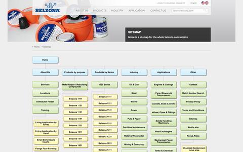 Screenshot of Site Map Page belzona.com - Belzona.com Sitemap showing all available pages - captured Sept. 19, 2014