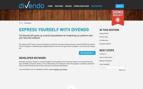 Screenshot of Developers Page divendo.co.uk - Developers | Divendo E-commerce - captured Oct. 5, 2014