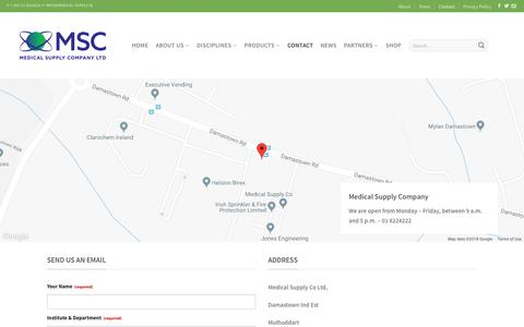 Screenshot of Contact Page medical-supply.ie - Contact | Medical Supply Company, Reagents, Equipment, IT solutions, Pharma, Clinical Diagnostics, Life Science, Lab Inventory Management System, Healthcare, MSC - captured Oct. 17, 2018