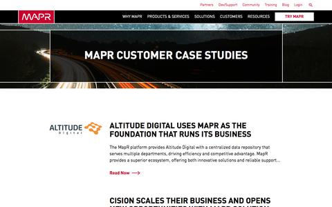 Screenshot of Case Studies Page mapr.com - MapR Customer Case Studies | MapR - captured March 26, 2017