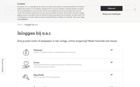 Screenshot of Login Page asr.nl - Inloggen bij asr - captured June 18, 2019