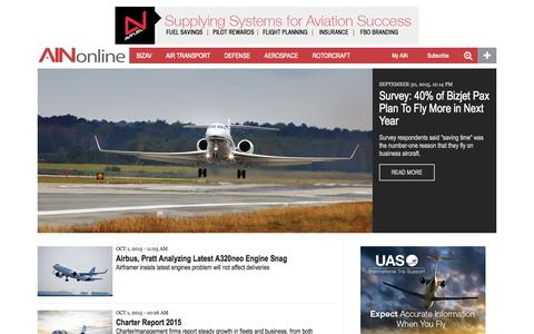 Screenshot of Home Page ainonline.com - Aviation International News | Business, Air Transport, Defense & General Aviation News - captured Oct. 1, 2015