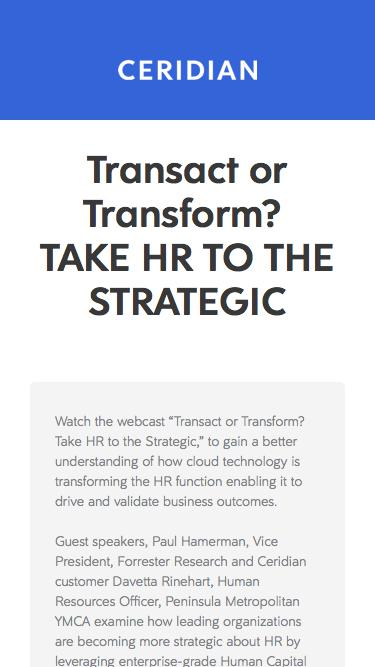 Transact or Transform? Take HR to the Strategic