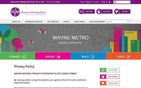 Screenshot of Privacy Page waynemetro.org - Privacy Policy - Wayne Metro Community Action Agency - captured Dec. 17, 2016