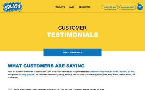 Screenshot of Testimonials Page splashwash.com - SPLASH Testimonials & Product Success | Nationally Recognized & Trusted Brand - captured Dec. 17, 2018