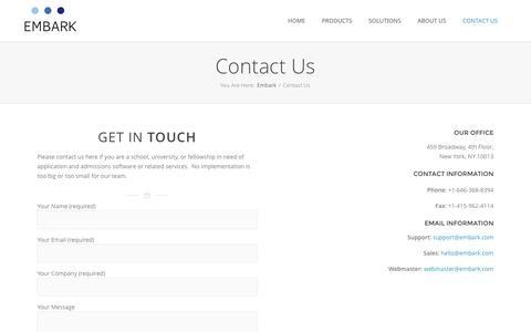Embark  –  Contact Us