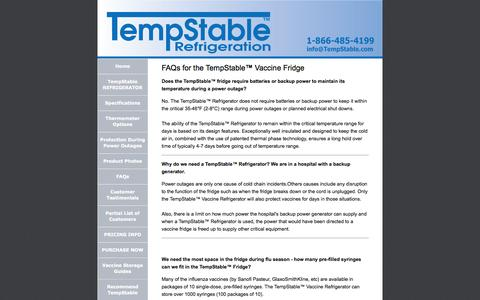 Screenshot of FAQ Page tempstable.com - Frequently Asked Questions (FAQs) - TempStable™ Vaccine Refrigerator - captured Oct. 10, 2014