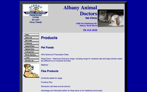 Screenshot of Products Page animaldoctors.co.nz - Products - captured Oct. 4, 2014