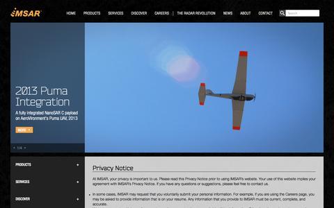 Screenshot of Privacy Page imsar.com - Privacy Notice | IMSAR - captured Oct. 4, 2014