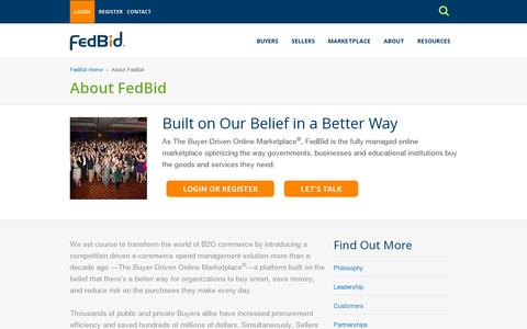 Screenshot of About Page fedbid.com - About FedBid | FedBid - captured July 20, 2014