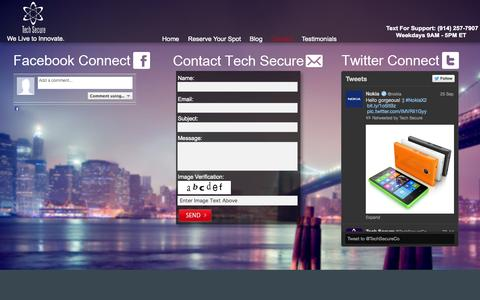 Screenshot of Contact Page techsecure.co - Tech Secure   Contact Us - captured Oct. 7, 2014