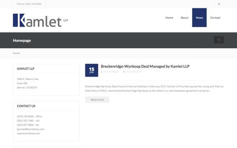Screenshot of Press Page kamletlaw.com - News - Kamlet LLP - captured Feb. 12, 2016