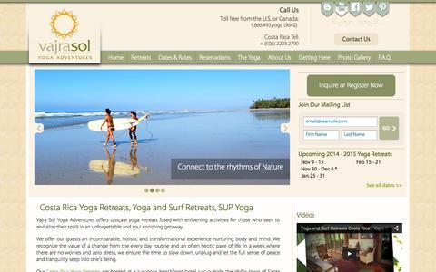 Screenshot of Home Page vajrasoltravel.com - Vajra Sol Yoga Retreats   Costa Rica Surfing & SUP   Peru - captured Oct. 6, 2014