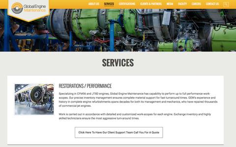 Screenshot of Services Page global-engine.com - Services - Global Engine Maintenance - captured Nov. 8, 2016