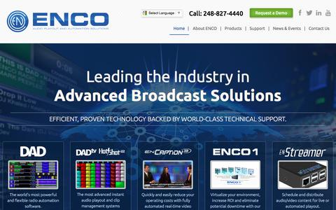 Screenshot of Home Page enco.com - ENCO Systems, World Class Provider of Radio Automation, Audio Delivery for TV and Solutions for Broadcasters - Home - captured Jan. 23, 2016