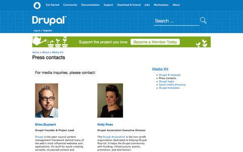 Screenshot of Press Page drupal.org - Press contacts | Drupal.org - captured Nov. 23, 2015