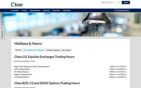 Screenshot of Hours Page cboe.com - Cboe | Hours - captured Oct. 23, 2019