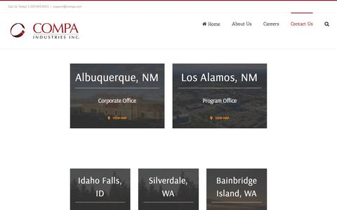 Screenshot of Locations Page compa.com - Locations – Compa Industries, Inc. - captured Sept. 25, 2018