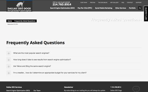 Screenshot of FAQ Page seodogs.com - Frequently Asked Questions » - captured Sept. 22, 2014