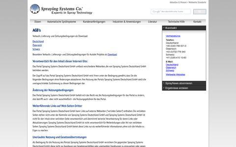 Screenshot of Terms Page spray.de - Düsen, Düsensteuerung, Düsensysteme, Düsenherstellung, Sprühsysteme vom Experten in der Sprühtechnik, Spraying Systems Deutschland | Düsen | Duesen | Duese | Düse - Spraying Systems Co - captured Feb. 18, 2016