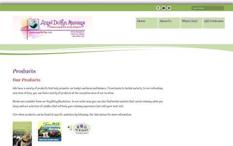 Screenshot of Products Page angeldolfyn.com - Products - Angel Dolfyn Massage - captured July 2, 2018