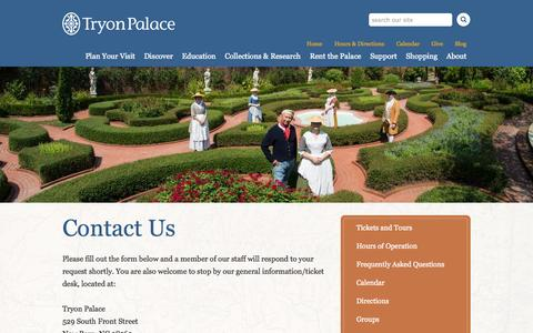 Screenshot of Contact Page tryonpalace.org - Contact Us | Tryon Palace - captured Oct. 9, 2014