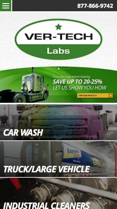 Screenshot of Home Page  ver-techlabs.com - Car Wash Detergent, Soaps, Waxes and ChemicalsCar Wash Detergent, Soap, Waxes,Triple Foam, Fleet Washing, Ver-tech Labs