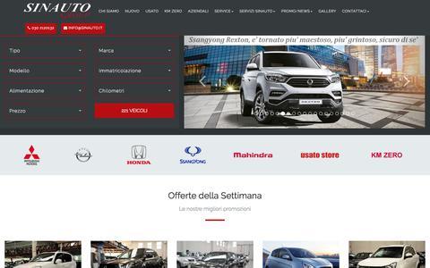 Screenshot of Home Page sinauto.it - Benvenuti - Sinauto S.r.l. concessionaria Honda, Mitsubishi, Ssangyong, Mahindra, Opel a Mazzano - Brescia - captured March 10, 2018