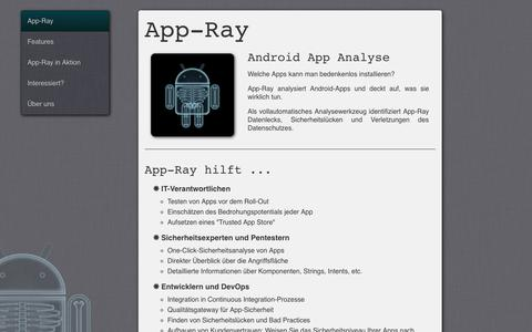 Screenshot of Home Page app-ray.de - App-Ray - Mobile App Security Scanning - captured Sept. 11, 2015