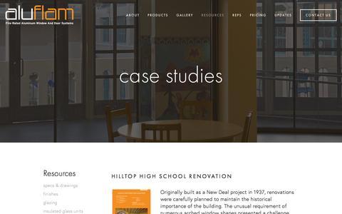 Screenshot of Case Studies Page aluflam-usa.com - case studies — Fire Rated Aluminum | Glazing | Windows | Doors | Vision Walls | Curtain Walls - captured Feb. 5, 2016