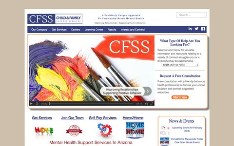 Screenshot of Home Page cfss.com - Mental Health Support Services In Arizona - CFSS - captured Jan. 27, 2016