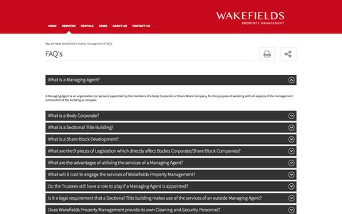 Screenshot of FAQ Page wakefieldspropertymanagement.co.za - Property Management Information | Wakefields Property Management - captured Oct. 29, 2017