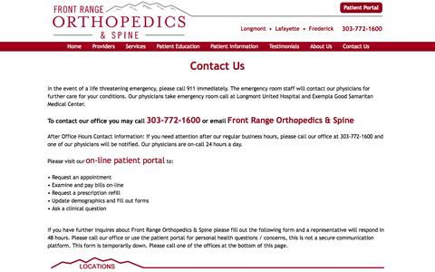 Screenshot of Contact Page frontrangeorthopedics.com - Front Range Orthopedics & Spine Contact Info - Phone Number - Address - captured Oct. 6, 2014