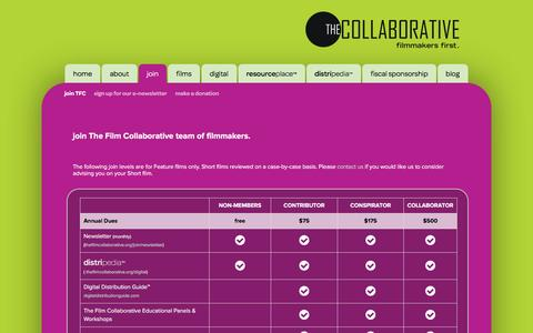 Screenshot of Signup Page thefilmcollaborative.org - Join TFC - captured Oct. 20, 2015