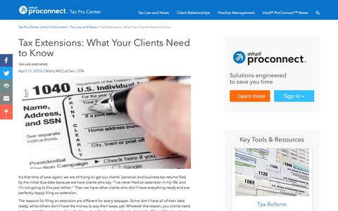 Screenshot of Press Page intuit.com - Tax Extensions: What Your Clients Need to Know | Tax Pro Center | Intuit ProConnect - captured Nov. 21, 2019