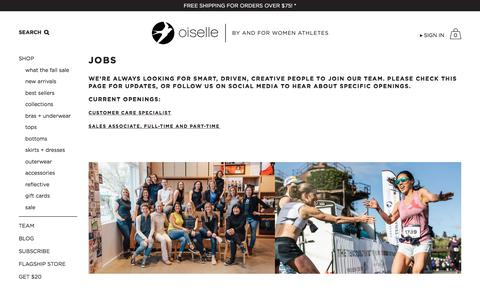 Screenshot of Jobs Page oiselle.com - Jobs | Oiselle Running Apparel for Women - captured Sept. 23, 2018