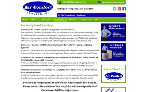 Screenshot of FAQ Page aircomfortservice.com - St. Louis HVAC Contractors Air Comfort Information - captured Sept. 22, 2014