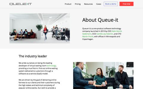 Screenshot of About Page queue-it.com - About Us | Queue-it - captured Sept. 15, 2019