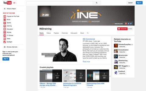 Screenshot of YouTube Page youtube.com - INEtraining  - YouTube - captured Oct. 22, 2014
