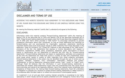 Screenshot of Terms Page fossiloil.com - Disclaimer And Terms Of Use - - captured Oct. 6, 2014