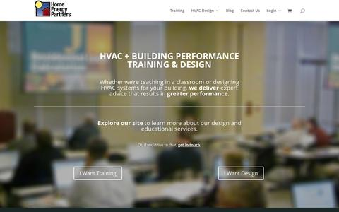 Screenshot of Home Page homeenergypartners.com - HVAC DESIGN SERVICES + BUILDING PERFORMANCE - captured July 24, 2015