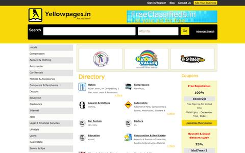 Screenshot of Home Page yellowpages.in - Home:: Yellowpages are a directory having contact information about businesses or services offered by various companies. - captured Sept. 24, 2014