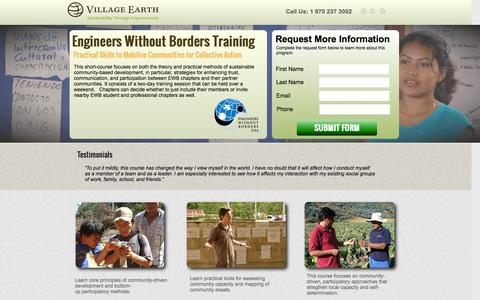 Screenshot of Landing Page villageearth.org - Community Mobilization Training for Engineers Without Borders | Village Earth - captured Oct. 27, 2014